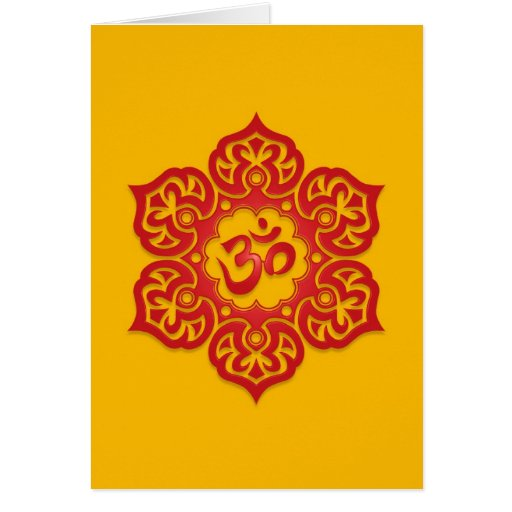 Floral Red and Yellow Aum Design Greeting Cards