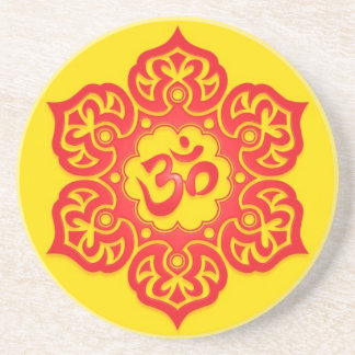 Floral Red and Yellow Aum Design Sandstone Coaster