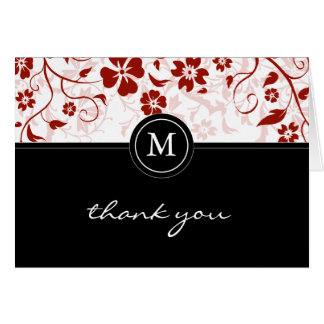 Floral Red Black Monogram Thank You Card