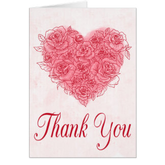 Floral Red Burgundy Rose Flower Thank You Wedding Card