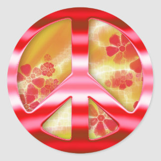 Floral Red Chrome Peace Sign Round Sticker