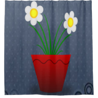 Floral red flower pot blue showercurtain shower curtain
