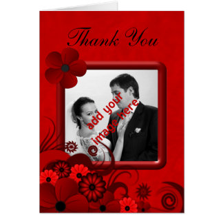 Floral Red Goth Wedding Thank You Photo Note Cards