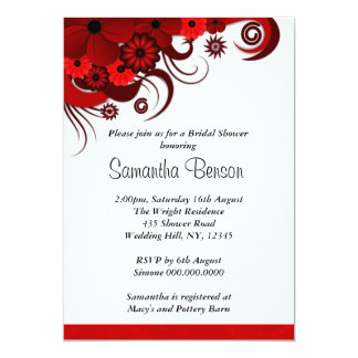 Floral Red Hibiscus Wedding Bridal Shower Invites Personalized Invitations