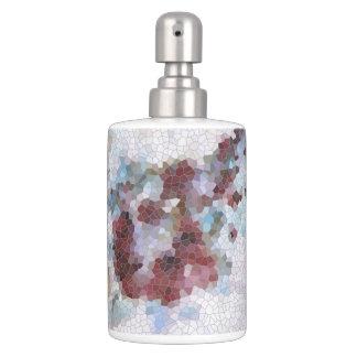 Floral Red, Lavender, Blue and Violet Mosaic Soap Dispenser And Toothbrush Holder