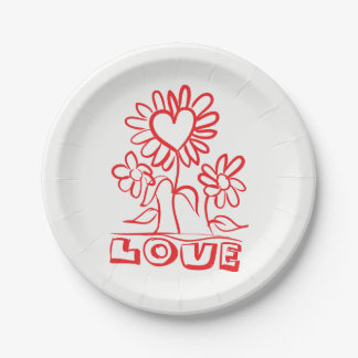 Floral Red Love Flowers & Hearts Wedding 7 Inch Paper Plate
