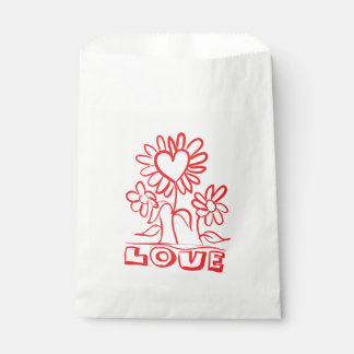 Floral Red Love Flowers & Hearts Wedding Party Favour Bags