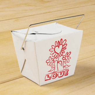 Floral Red Love Flowers & Hearts Wedding Party Favour Box