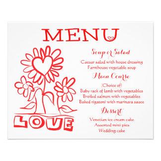 Floral Red Menu Love Flowers & Hearts Wedding 11.5 Cm X 14 Cm Flyer