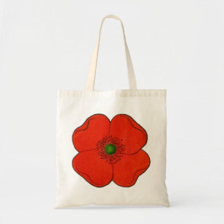 Floral - red poppy flower tote bag