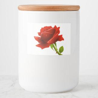 Floral Red Rose Flower Food Label