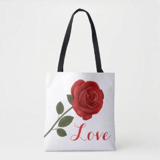 Floral Red Rose Flower Love Tote Bag