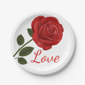 Floral Red Rose Flower Love - Wedding Party Paper Plate
