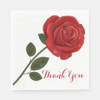 Floral Red Rose Flower Thank You Wedding Party Disposable Serviettes