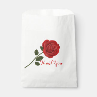 Floral Red Rose Thank You Flower Wedding Favour Bags