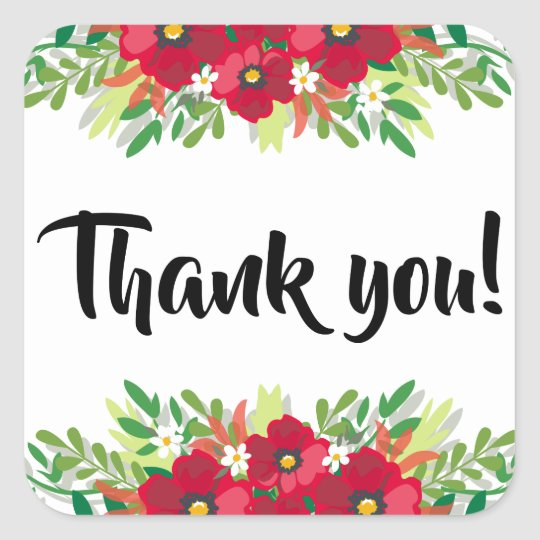 Floral Red Thank You Burgundy Flowers Black Square
