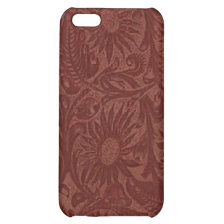 Floral Red Tool Leather Pern  iPhone 5C Cases