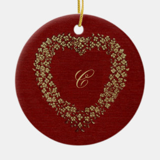 Floral Red Vintage Heart Initial Christmas Love Christmas Ornament
