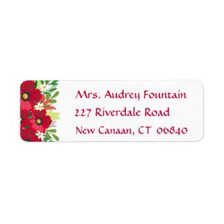 Floral Red Watercolor Burgundy Flowers Return Address Label