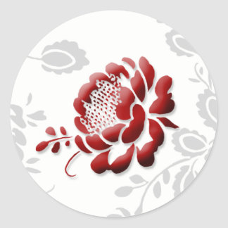 Floral Red Wedding Invitation Envelope Seals Round Sticker