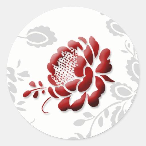 Floral Red Wedding Invitation Envelope Seals Round Sticker