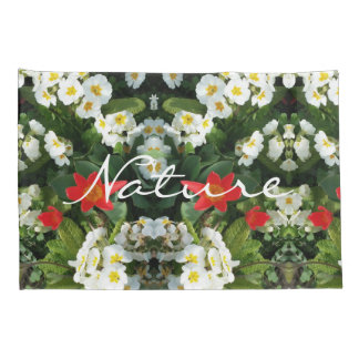 Floral Red White Green Flowers Mirror Pattern Pillowcase