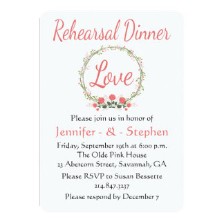 Floral Rehearsal Dinner Rose Wreath Pink Red Love 13 Cm X 18 Cm Invitation Card