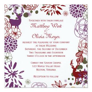 Floral Reindeer Winter Wedding Invitation