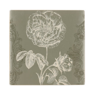 Floral Relief I Wood Coaster