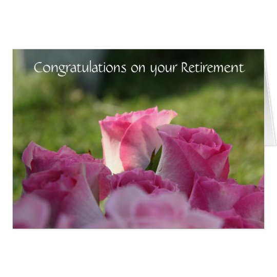 Floral Retirement Card, Pretty Pink Roses Card