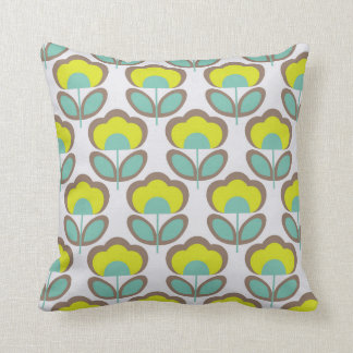 Floral Retro 70's Wallpaper Pattern Cushion