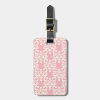 Floral retro damask luggage tag