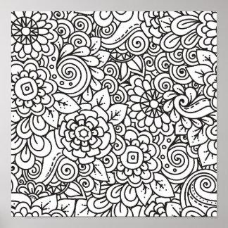 Floral Retro Doodle 2 Poster