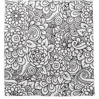 Floral Retro Doodle Shower Curtain