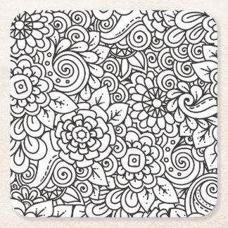 Floral Retro Doodle Square Paper Coaster