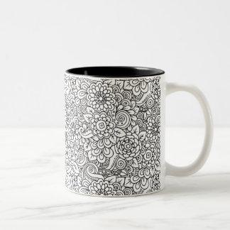 Floral Retro Doodle Two-Tone Coffee Mug