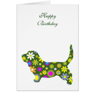 Floral retro flowers basset hound birthday card