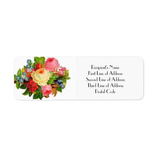 FLORAL Return Address Label WEDDING Engagement