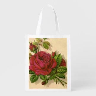 floral reusable shopping bag.roses reusable grocery bag