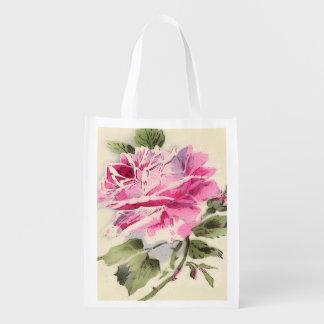 floral reusable shopping bag.roses market totes