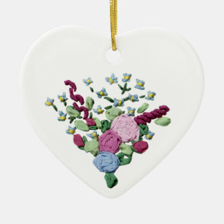 Floral Ribbon Embroidery Christmas Ornament