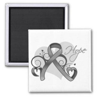 Floral Ribbon Hope - Brain Tumor Square Magnet
