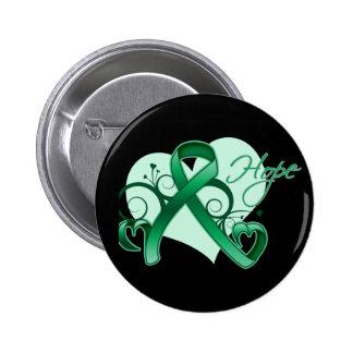 Floral Ribbon Hope - Liver Cancer 6 Cm Round Badge