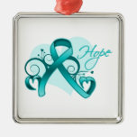 Floral Ribbon Hope - Ovarian Cancer Silver-Colored Square Decoration
