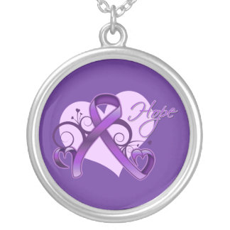Floral Ribbon Hope - Pancreatic Cancer Round Pendant Necklace
