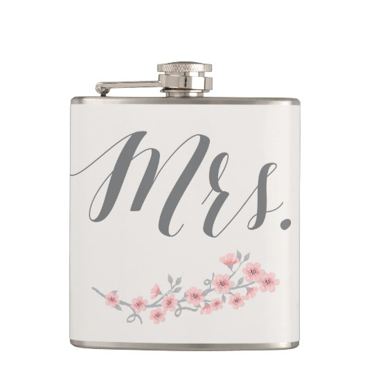 Floral Romantic Flask Wedding Gifts Pink Mrs.