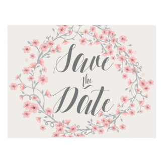 Floral Romantic Save The Date Postcards Wreath