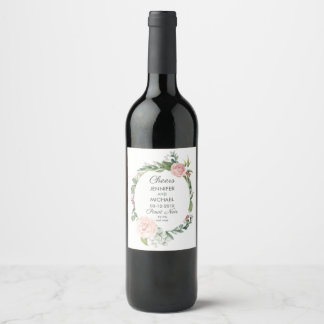 Floral Rose and Greenery Wreath Wedding Wine Label
