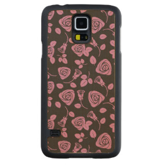 Floral Rose Background Carved Maple Galaxy S5 Case