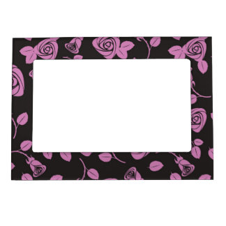 Floral Rose Background Magnetic Picture Frame